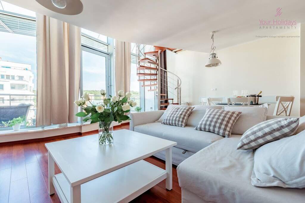 Międzyzdroje Apartament Promenada Gwiazd 28/1001 - salon apartamencie blisko morza